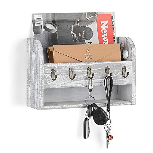LIANTRAL Mail Sorter Wall Mount Mail & Key Holder Organizer (Rustic White)