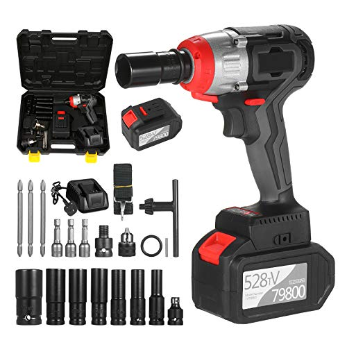 Cordless Impact Wrench 2PCS Battery, 980Nm Torque Brushless Motor 1/2 and 1/4 Inch Quick Chuck 6.0A with Fast Charger, Variable Speed Impact Kit with Key Type Drill Chuck and 17 Accessories