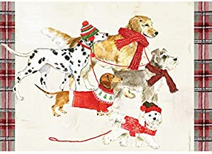 Graphique Dog Party Boxed Cards — 15 Embellished Glitter Holiday Cards of Dogs in Scarves, Christmas Cards Includes Matching Envelopes and Storage Box, 4.75