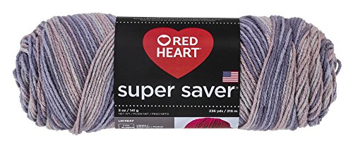 Red Heart E300.3972 Super Saver Yarn, Mulberry Mix