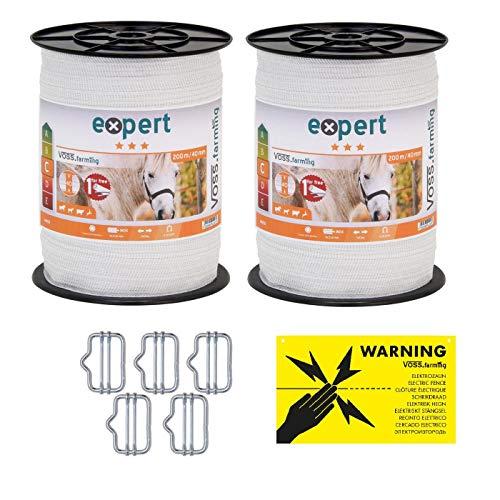 VOSS.farming Doppelpack Weidezaunband - Breitband - Elektrozaun-Band - 22{69e438c0d387c56a8e874f5b5902b12b9e9910efb9935d06e2c5fab54314edb7} höhere Leitfähigkeit, inklusive Zubehör - je Band 200 Meter Länge und 40mm breit