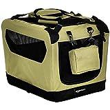 Amazon Basics – Transportín para mascotas abatible, transportable y suave de gran calidad, 53 cm, Caqui