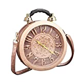 1611/5000 Orologio da donna funzionante reale orologio da lavoro elegante tote classico tondo etro borsa vintage pochette spalla borsa stile SteamPunk (pink)
