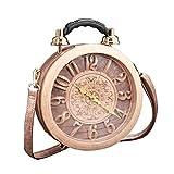 Reloj de Trabajo Real Funcional para Mujer Elegante Bolso de Mano Clásico Redondo etro Bolso Vintage Bolso de Embrague de Hombro Bolso Steampunk (Pink)