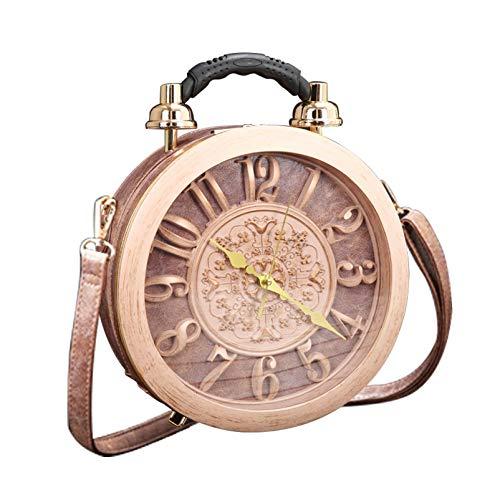 Damen Functional Real Working Clock Stilvolle Tasche Klassische runde etro Vintage Handtasche Schulter Clutch Bag Steampunk Style Handtasche (pink)