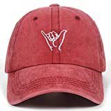 YL Nueva Funda de Dedo Bordado Ocio al Aire Libre Lavados Gorras de béisbol Hip Hop Ajustable del Sombrero 100% algodón Hombre de Las Mujeres Sombreros (Color : Red, Size : 54-62cm)
