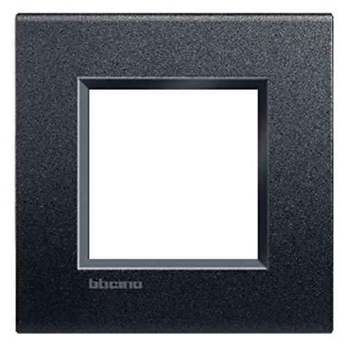BTicino Livinglight Placca Quadra, 2M, Forma Rettangolare, Antracite