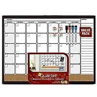 Quartet Dry Erase Cork Calendar Board Combo Value Pack Magnetic Black Frame (44202-BK) [並行輸入品]