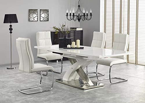 Sellon24/Signal Sandor 2 - Mesa de comedor extensible con 6 sillas (cristal), color blanco