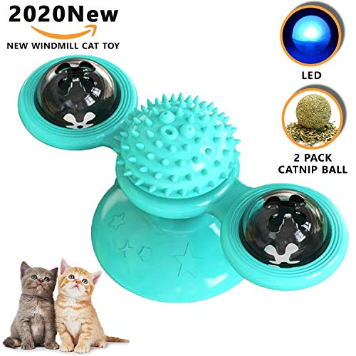 Cuby Cat Toy Windmill Cat Toy Interactive Cat Turntable Teasing Pet Toy Chew Bite Kick Massage Scratching Tickle (Blue)