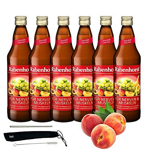 Rabenhorst Saft Für Nerven und Muskeln 6x 700ml Vegan - Harmonisch komponierter Mehrfruchtsaft mit Magnesium und 8 B-Vitaminen PLUS fooodz-Trinkhalm Set mit Reinigungsbürste