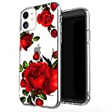 JAHOLAN iPhone 11 Case Clear Cute Design Flexible Bumper TPU Soft Rubber Silicone Cover Phone Case for iPhone 11 / XI 6.1' 2019 - Girl Floral Rose Red