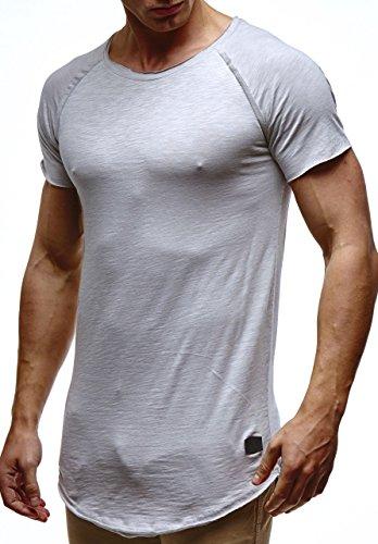 Leif Nelson Herren Sommer T-Shirt Rundhals-Ausschnitt Slim Fit Baumwolle-Anteil Moderner Männer T-Shirt Crew Neck Hoodie-Sweatshirt Kurzarm lang LN6339 Grau Large
