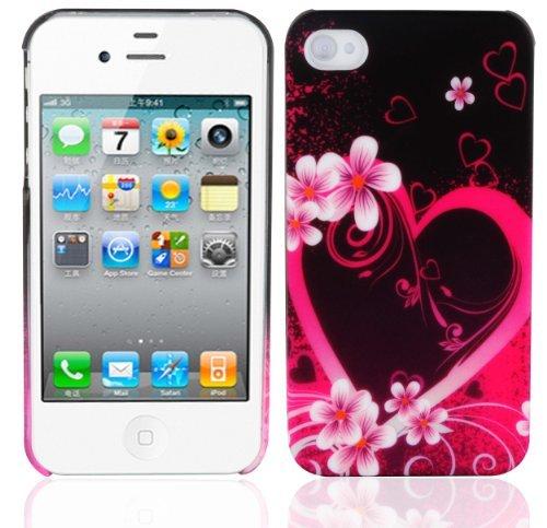 Cadorabo – TPU Hard Cover per  Apple iPhone 4 / iPhone 4S  - Case Cover Involucro Bumper Accessorio in Design: Love Flower