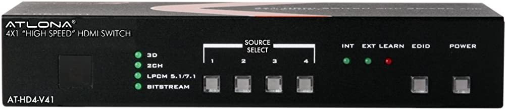 Atlona Technologies AT-HD4-V41 4X1 HDMI Switch with 3D, Arc and Ethernet
