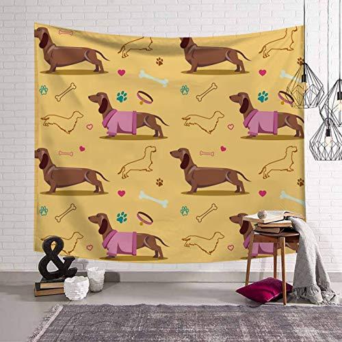 N/A Impresión 3D tapices Tapiz de Perro Salchicha Perros Salchicha Colgante de Pared de Animales de Dibujos Animados Tapiz de Pared Dormitorio Escuela Tapiz hogar salón decoración alfombras de Pared
