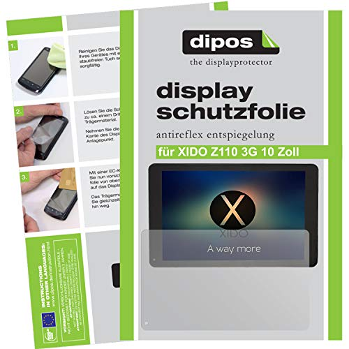 dipos I 2X Schutzfolie matt kompatibel mit XIDO Z110 3G 10 Zoll Folie Bildschirmschutzfolie
