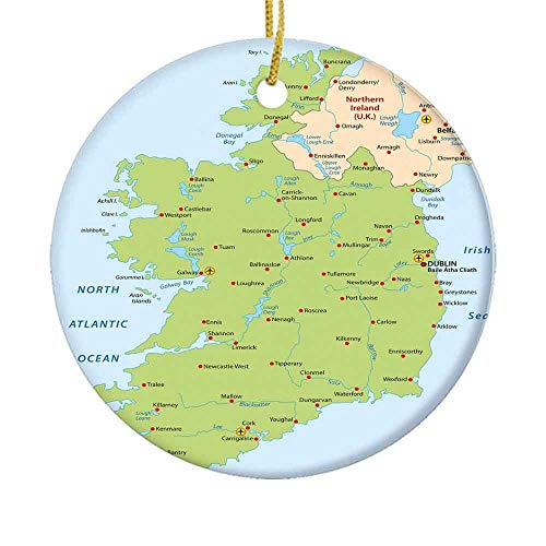 MAK060KFT Christmas Tree Ornament,Demonstration of Irish Region European Travel Guide Elements Ceramic Ornament,Holiday Ornament Friends Gift,Ceramic Holiday Decoration,2.8in