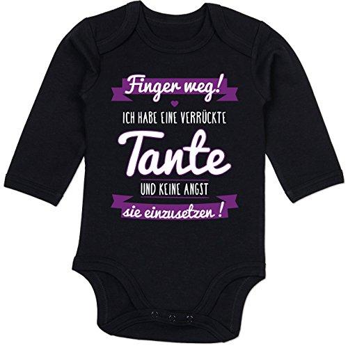 Sprüche Baby - Ich Habe eine verrückte Tante Lila - 3/6 Monate - Schwarz - Fuer die Beste Tante - BZ30 - Baby Body Langarm