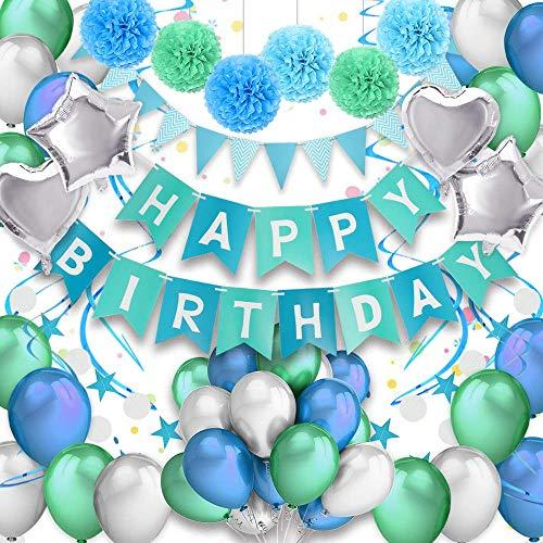 PushingBest Geburtstagsdeko, Geburtstag Dekoration Set Happy Birthday Banner Girlande Dreieckige Wimpel Mit hochwertig Latexballon, Stern / Herz Folienballons, Papier Pompoms und Spiralen Dekoration
