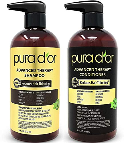 PURA D'OR Advanced Therapy System Shampoo & Conditioner - Increases Volume, Strength and Shine, No Sulfates, Made with Argan Oil, All Hair Types, Men & Women, 16 fl oz (Packaging may vary)