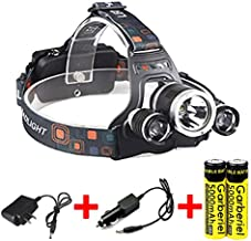 Garberiel 8000 Lumens Bright LED Headlamp 3 Bulbs 4 Modes Rechargeable Headlamp LED Flashlight Torch with Rechargeable Batteries and Wall Charger for Outdoor