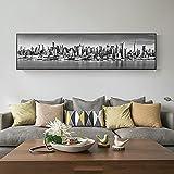 BIGSHOPART 1 piezas grandes en blanco y negro de la ciudad de Nueva York paisaje de arte de pared para sala de estar, decoración del hogar, pósteres, lienzos – 30 x 120 cm sin marco