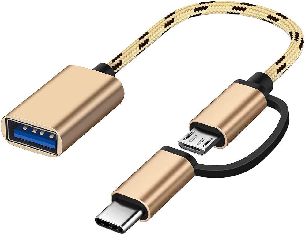 Adaptador USB C / Micro a USB, Seminer 2 en 1 USB C a USB Micro a USB 3.0 OTG daptador Cable Compatible con iMac Android Google Samsung Galaxy y más, Oro