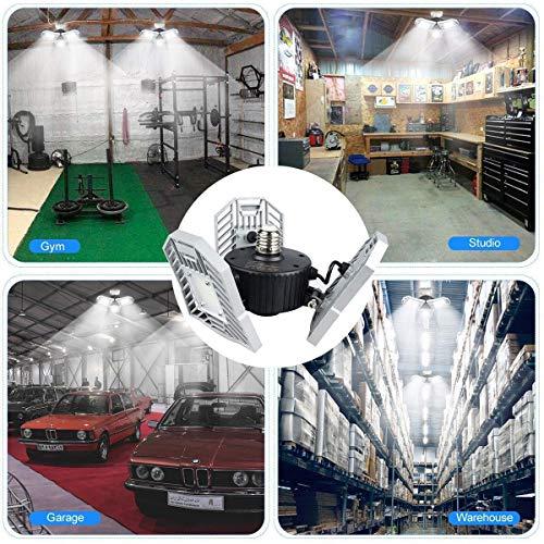 Garage Lights Tanbaby Garage Light Deformable LED Garage Lights 6000lm 60W Tribright LED Adjustable Light Garage Lighting Garage Light Bulb Shop Light for Garage, Working Light Xmas(NO Sensor)