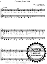 Coventry Carol 10 copies A capella SSA Choral Sheet Music! Acappella music arranged for 3 part female choir or trio. 10 copies of the song included