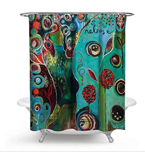 AdoDecor - Cortina de ducha resistente al moho, resistente al moho, pintura abstracta, decoración de baño europea, diseño Fancy 160 x 180 cm
