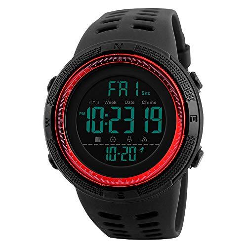 Bainuojia Jungen Digitaluhren, Kinder Sport 5 ATM wasserdicht Digital Uhren mit Alarm/Timer/EL Licht, Blau Kinderuhren Outdoor Armbanduhr für Jugendliche Jungen (red)