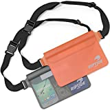 Riptide Waterproof Fanny Pack Waist Pouch (2 Pack) for Men & Women Dry Bag Water Resistant with Adjustable Strap -Protects Valuables at Water Sports Boating Swimming Skiing Orange & Sheer Black