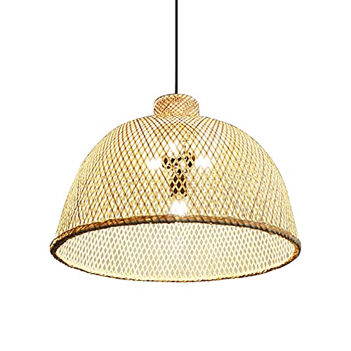 Lampada a sospensione in bambù intrecciato in stile giapponese, lampada da soffitto intrecciata a mano semplice E27 naturale, lampada a sospensione creativa in fattoria Lampadario in rattan Lampadari