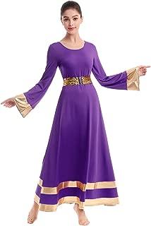 IBAKOM Womens Long Sleeve Tunic Robe Worship Praise Liturgical Full Dance Dress Ballet Costume with Sequins Belt