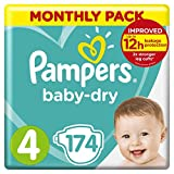 Pampers Baby-Dry, 174 Nappies, 9-14 kg, Monthly Saving Pack, Air Channels for Breathable Dryness Overnight, Size 4 (Packaging May Vary)