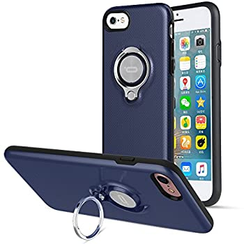 iPhone 8 Case iPhone 7 Case iPhone SE 2nd Generation Case by ICONFLANG 360 Degree Rotating Ring Kickstand Case Shockproof Impact Protection Function Can Work with Magnetic Car Mount case 2018-Navy