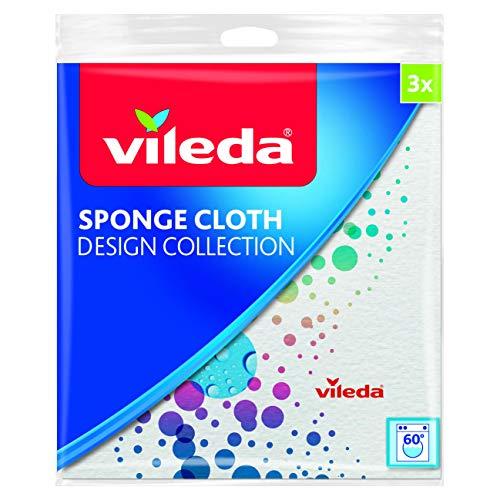 Vileda Design Collection Panno Spugna Assorbente, Naturale, Biodegradabile, Multiuso, Cellulosa/Cotone, Bianco, 3 Pezzi, 3 unità