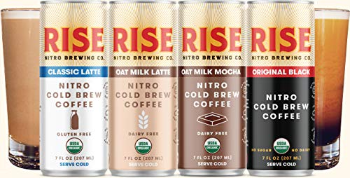 RISE Brewing Co. | Nitro Cold Brew Coffee | Organic, Non-GMO | Clean Energy & Low Acidity | 3x Original Black, Oat Milk Latte, Oat Milk Mocha & Classic Latte | 7 fl. oz. Cans (12 pack)