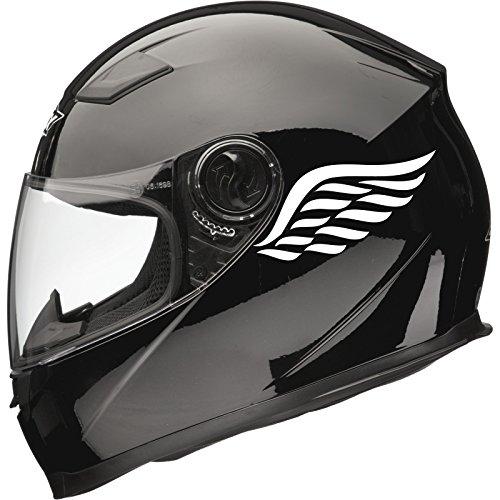 Calcomanías adhesivas para casco de moto Angel Wings (par), 80 mm x 40 mm, color blanco