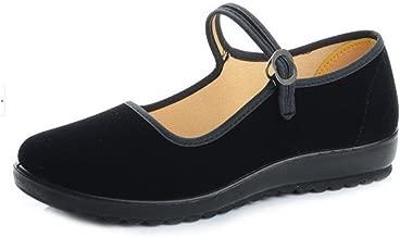 staychicfashion Black Cotton Mary Jane Dance Flat Old Beijing Cloth Walking Shoes for Women
