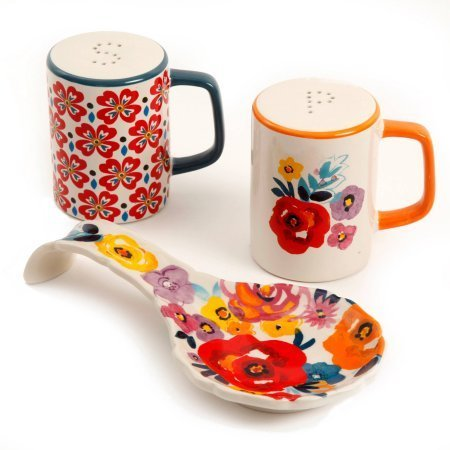 The Pioneer Woman Flea Market Stoneware Spoon Rest & Salt And Pepper Set (1, Floral)