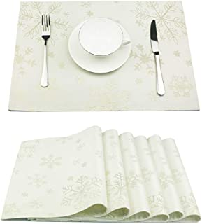 LAVIN Christmas Placemats Set of 6,Non-Slip Snowflakes Table Mats for Dining Table,Double Layer Heat Resistant,Durable Place Mats for Thanksgiving,Weddings,Party,Everyday Use,Gold,13x19 Inch