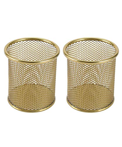 EasyPAG 2 Pcs 3.5 inch Round Mesh Cup Desk Pen Pencil Holder,Gold