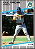 1989 Fleer Update Baseball #U-41 Greg Vaughn RC Rookie Card Milwaukee Brewers Official MLB Trading Card From The Fleer Corp.. rookie card picture