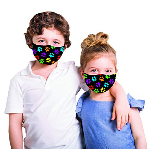 Snoozies Kids Face Mask - 1 Cloth Face Mask for Kids with Filter Pocket + 4 Filters - Washable Reusable Face Mask - Ages 5-10 (ML) - Multi Dog Paws
