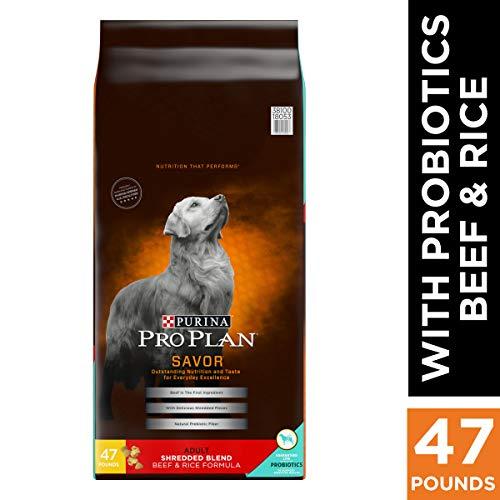 Purina Pro Plan With Probiotics Dry Dog Food, SAVOR Shredded Blend Beef & Rice...