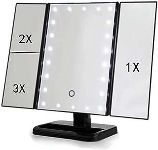 三つ折り照明付き化粧鏡、3倍/ 2倍倍率タッチスクリーン、シェービング用180°調整可能回転ミラー、バッテリおよびUSB電源