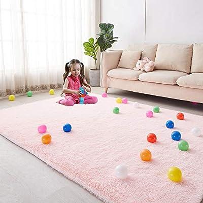 Soft Area Rug for Girls Bedroom, 5'X7' Pink Rug for Living Room, Fluffy Carpet for Kids Room, Shaggy Floor Mat for Nursery Room, Room Decor for Teen Girls, Furry Shag Rug for Baby