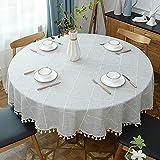Lsimeru Tischdecke Kariert Grau Weiß Landhausstil Rund 200cm Stickerei Baumwolle und Leinen Abwaschbar Tischtuch Draussen Tischwäsche Tafeldecke Tischdecken Gartentischdecke